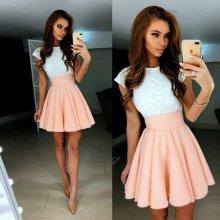 Letní šaty s krajkou a páskem 801408-6 bílá růžová c5225b3b45