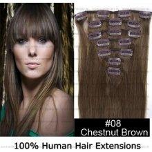 CLIP IN (klipy) pravé lidské vlasy remy 50cm odstín 08 světle hnědá 8 částí