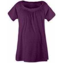 těhotenské a kojící tričko na spaní i na doma výstřih gumiča fialová