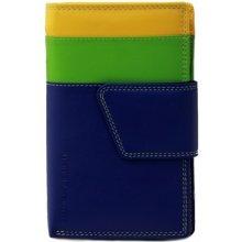 Dámská kožená peněženka vícebarevná modrá