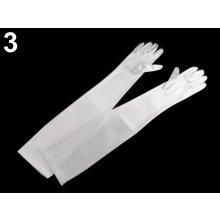 Společenské saténové rukavice 40 cm, 60 cm bílá