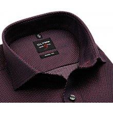e05c738bb92 Olymp Level Five – tmavomodrá košile s vínově červeným diagonálním vzorem a bílými  puntíky
