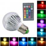 RGB LED Žárovka 3W kulatá E27