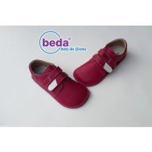 Beda barefoot kožené boty růžové