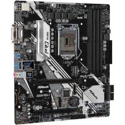 Základní deska ASRock B365M Pro4-F Základní deska, Intel B365, LGA1151, 4x DDR4 DIMM (max. 64GB), HDMI, DVI-D, D-Sub, M.2, USB typ C, mATX B365M PRO4-F