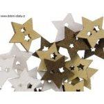Vánoční dřevěná dekorace HVĚZDA mix barev, 24 ks