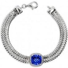 Náramek stříbrný se zirkony cubic zirconia modrý čtverec 156282042004