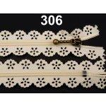 Spirálový zip šíře 3 mm délka 16 cm krajkový 100ks - 8 Kč / ks 306 Almond Oil