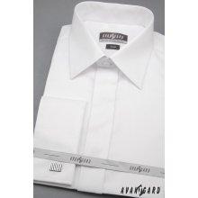 b14bc604e0c Avantgard pánská košile Slim krytá léga dlouhý rukáv na manžetový knoflík  111-01 Bílá