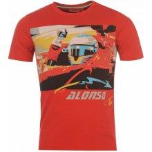Ferrari Alonso Logo T shirt Mens Red