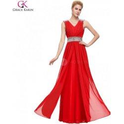 Grace Karin Šifonové společenské červené šaty CL3401-1 Červená ... a48de1439e