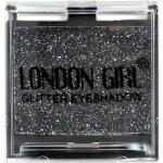 LONDON GIRL Flitrové oční stíny Mono Černé GLITTER Eyeshadow 18 4,5g