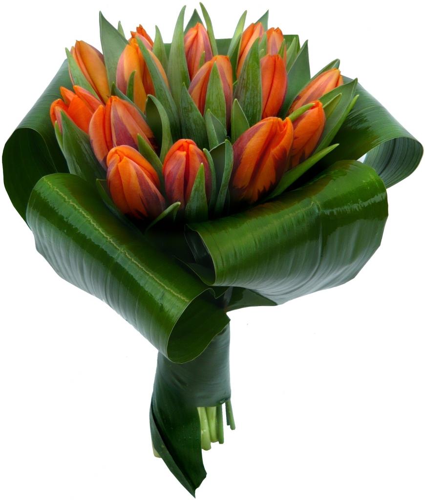 Букет из роз тюльпанов и аспидистры