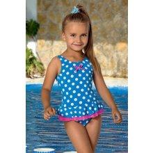 LORIN dětské dívčí plavky jednodílné modré s puntíkem