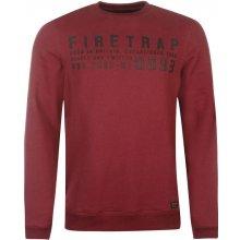 Firetrap Graphic Crew Sweater pánské, burgundy