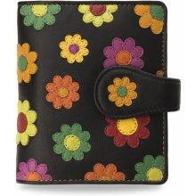 Dámská kožená peněženka visconti ozdobená květy sedmikrásky černá