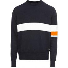 Calvin Klein Jeans Pulovr 'COLOR STRIPE COTTON SWEATER' noční modrá / bílá