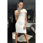 Dámské společenské sexy šaty středně dlouhé bílá 907b159853