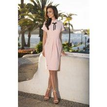 b116916bba0d Lemoniade dámské společenské šaty s límečkem stužkou a krátkým rukávem  dlouhé růžová