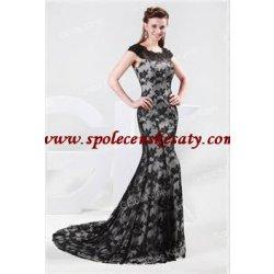 černé stříbrné dlouhé luxusní krajkové společenské plesové šaty s ramínky bad94d7879