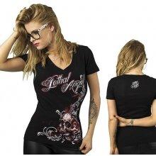 Dámské motorkářské tričko Lebka a růže Lethal Angel a649c1a17a