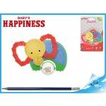 Mikro trading Kousátko slon s chrastítkem 11cm Baby´s Happiness