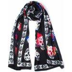 Dlouhý šátek přes ramena černý LEBKY s třásněmi 4B2-121451. 199 Kč aded9ddc94