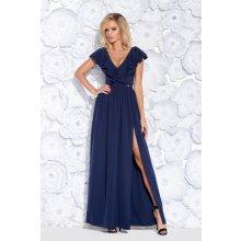a500cb289af5 Dámské společenské šaty s volánem a rozparkem dlouhé tmavě modrá