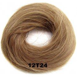 Příčesek - drdol na gumičce střapatý - 12T24 (mix karamelově hnědé a  platinově plavé) 7dec2ca4a9