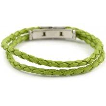 Trendhim zelený proplétaný kožený náramek AB9-2-656
