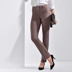a91e231400d Blancheporte Rovné kalhoty s vysokým pasem hnědošedá