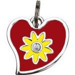 Trixie Přívěsek na obojek srdce s květinou 3x3cm
