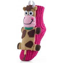Attractive Pletené ponožky CHAUSSONS CHAUSSETTES 10 KHA COW CARMINE