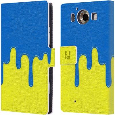 Pouzdro HEAD CASE Microsoft Lumia 950 / LUMIA 950 DUAL SIM Rozlitá barva modrá a žlutá