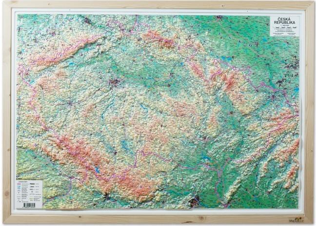 Plasticka Nastenna Mapa Ceska Republika 1 500 000 V Drevenem Ramu