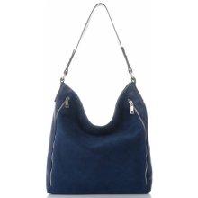 0673f5708750 Vittoria Gotti kožené dámské kabelky XL Tmavě modrá