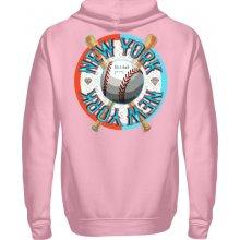 Ramirez Pánská Mikina s kapucí přes hlavu Baseball New York Světle růžová 3d792304aff