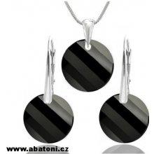 Swarovski Twist rhodiovaná souprava šperků s krystaly točitá placička  LSW062S Jet černá 4f0b4cdd6d0