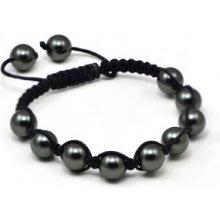 Náramek Shamballa s černé perly Swarovski Elements BMB10.50