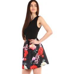 cfb59e90b0a6 Dámské šaty s áčkovou květovanou sukní 304046 černá alternativy ...