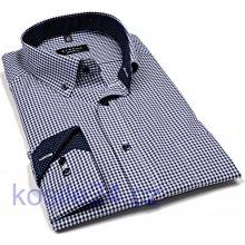Eterna Modern Fit košile s tmavomodrým kárem s vnitřním límcem a manžetou  prodloužený rukáv ce51e0f649