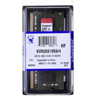 Kingston SODIMM DDR4 4GB 2666MHz CL19 KVR26S19S6/4