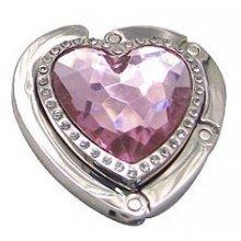 Háček na kabelku srdce - růžová