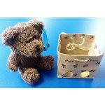 Medvídek s kapucí v papírové tašce tmavě hnědý