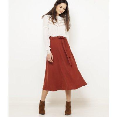 Camaieu midi sukně cihlová