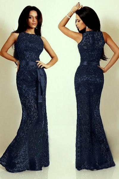 Plesové šaty Plesové šaty krajkové dlouhé 16809-2 modrá - Seznamzboží.cz 4feebfb8d7