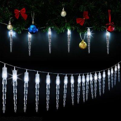 Goleto Vánoční LED řetěz rampouchy 14 m studená bílá 80 LED