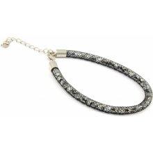 Murano náramek dutinka s krystaly z broušeného skla bílá černá Tubo Conteria 10000542901