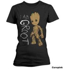 Dámské tričko Guardians Of The Galaxy 2/Strážci Galaxie 2: I am Groot scribbles černé