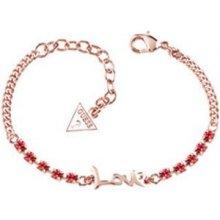 Guess Náramek s nápisem a růžovými krystaly UBB61009